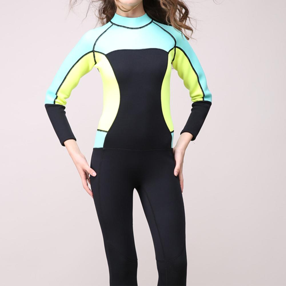Women's Full Body Wetsuit 3mm Neoprene One-piece Jumpsuit Wet Suit Girls Diving Suits Scuba Surfing Snorkeling Back Zip seiko настольные часы seiko qhg038gn z коллекция настольные часы