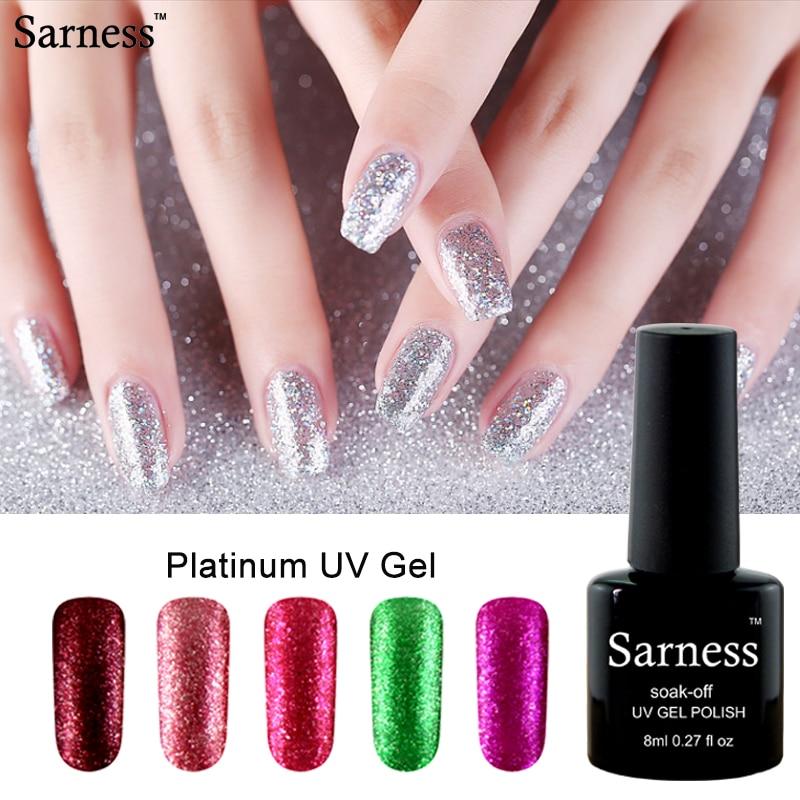Sarness Glitter Gel Polish Platinum UV Soak Off Gel Nail Polish Silver Rose Gold Light Green Nail Gel Varnish Fake Nails Set