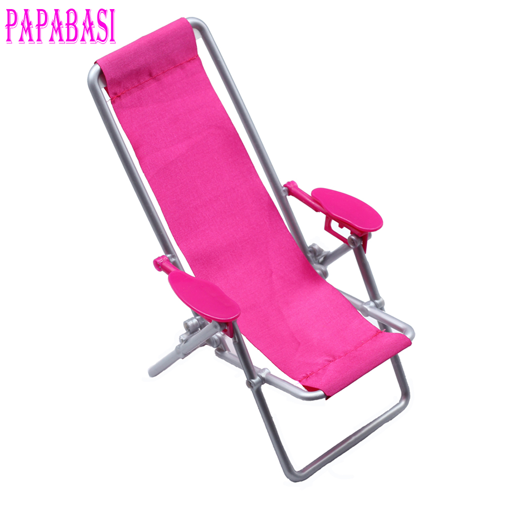 Miniature 1:12 Scale Hot Pink Foldable Plastic Beach Chair Deck Mini Garden Lawn Furniture for Barbie Doll BJDBlythe Accessorie