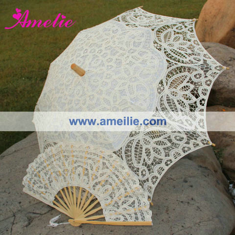 Free Shipping Lace Fan And Wedding Umbrella Lace Parasols