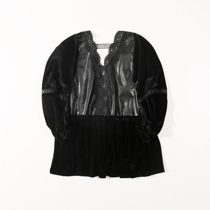 Silk velvet cropped sleeves shirt female loose large size bat sleeve v-neck lace bottoming shirt women  jacket women