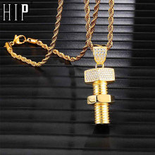 цена на Hip Hop Iced Out Bling Screw Rhinestone Rope Chain Gold Color Pendants & Necklaces For Men Jewelry Dropshipping