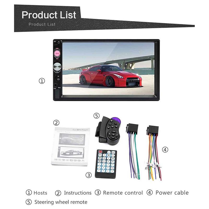 EDAL Bluetooth universel voiture Audio MP5 2Din 7 pouces HD lecteur d'écran tactile MP5 SD/FM/MP4/USB/AUX caméra de recul télécommande