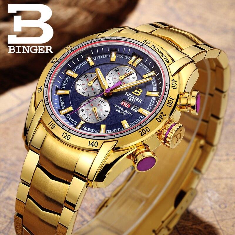2018 relógios masculinos marca de luxo relógios de pulso binger quartzo ouro cor relógio esporte cronógrafo mergulhador glowwatch B1163 8 - 5