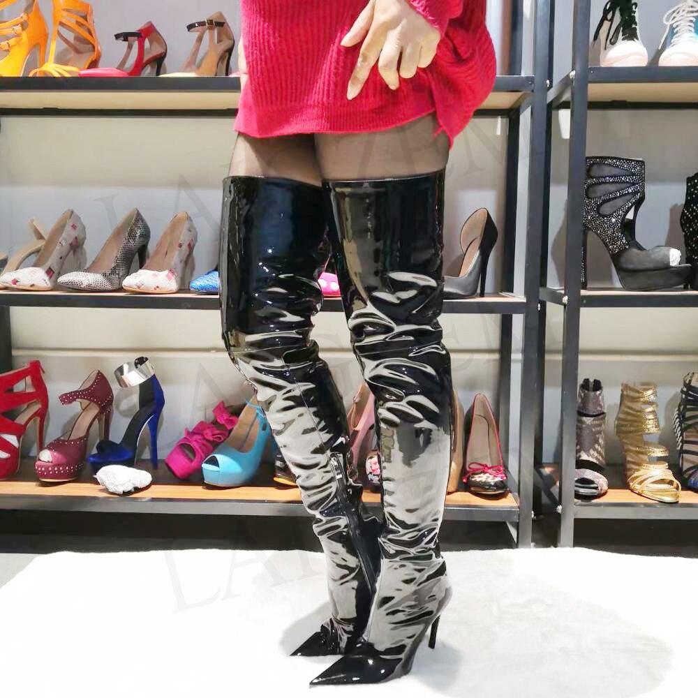 LAIGZEM STYLISH Women Over-the-Knee Boots Stiletto Heels Thigh High Boots Black Shiny Botas Feminina Botines Mujer Big Size 4-14LAIGZEM STYLISH Women Over-the-Knee Boots Stiletto Heels Thigh High Boots Black Shiny Botas Feminina Botines Mujer Big Size 4-14