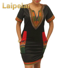 2018 African Dresses for Women Vintage Mini Dress Robe Casual Print Ladies Indian Plus Size Clothing
