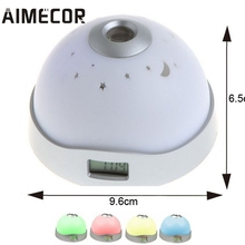 aimecor alarm clock 7 colors led change star night light magic projector backlight clock