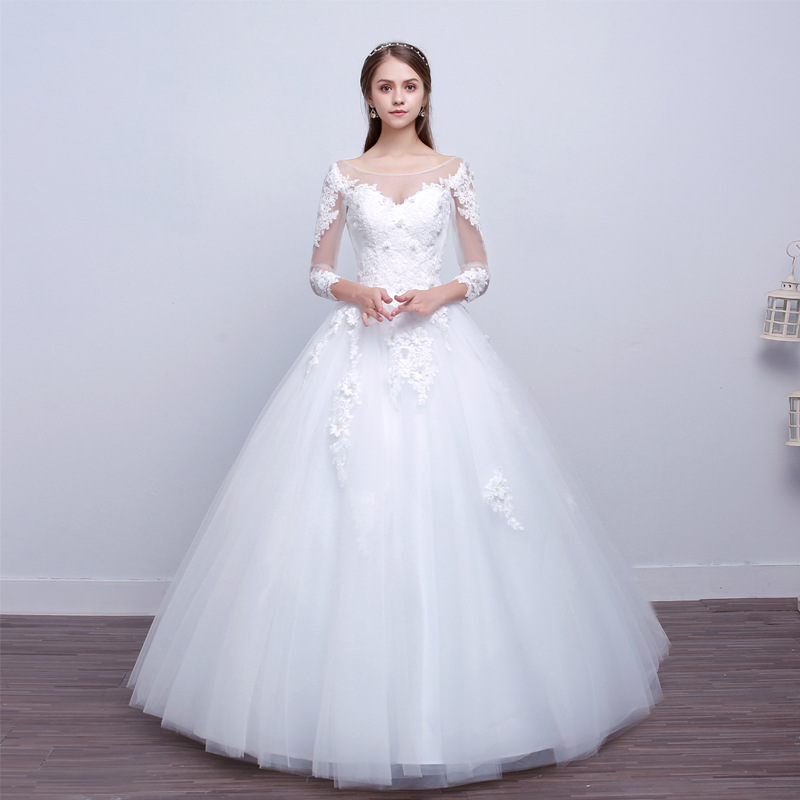 Vivian's Bridal 2018 Illusion Mesh Lace Appliques Sleeve Bridal Dress White Elegant Backless Lace Up Simple Wedding Ball Gown