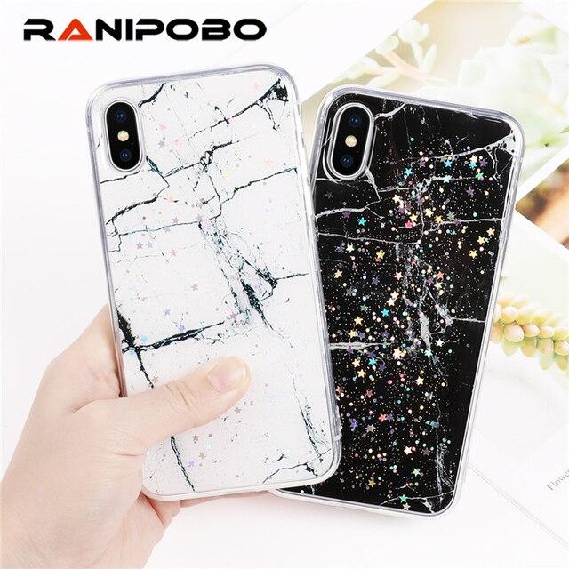 Luxury Platinum Marble Star Pattern Phone Case For iPhone 6 6S 7 8 Plus  Epoxy Soft 0edb6fa11544