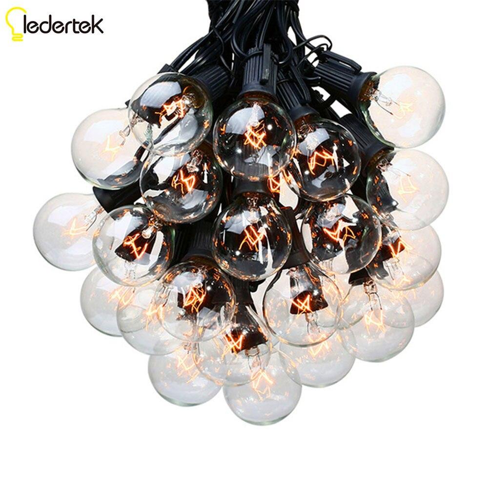 LEDERTEK String Lights with 25 G40 Globe Bulbs for Weding Indoor/Outdoor Commercial Outdoor Hanging Umbrella Garden Patio Lamp