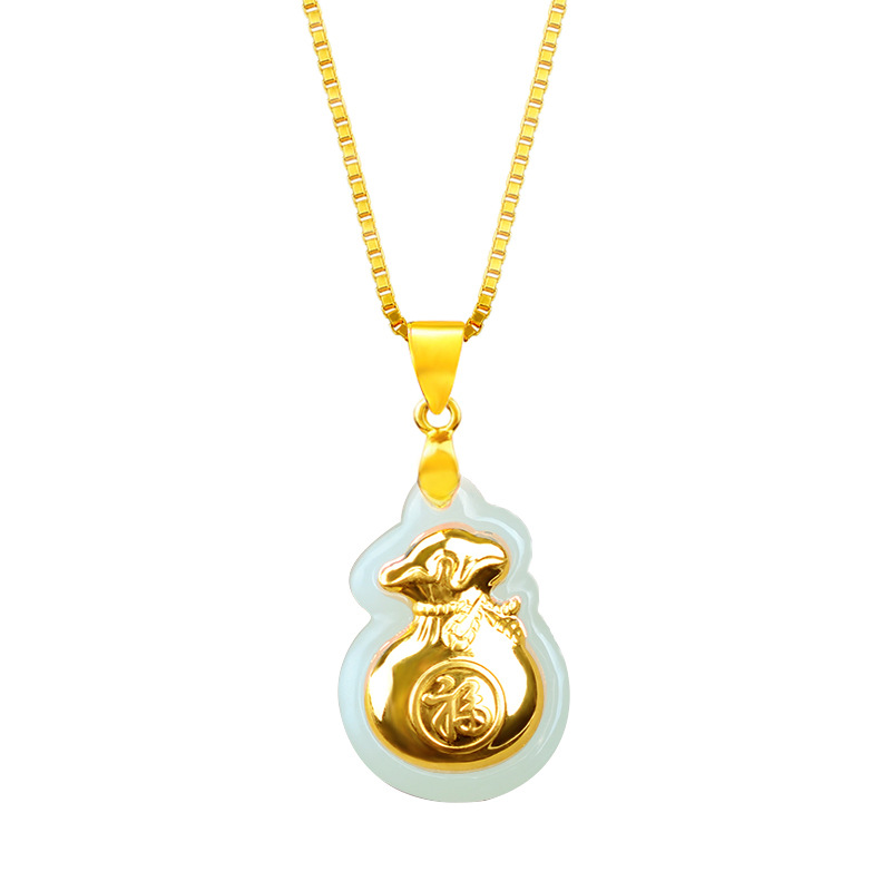 Pretty 22x16mm Natural HeTian Yu 100% Pure Solid 18 Gold Money Bag Lucky Pendant Necklace + Certificate Fine Jewelry