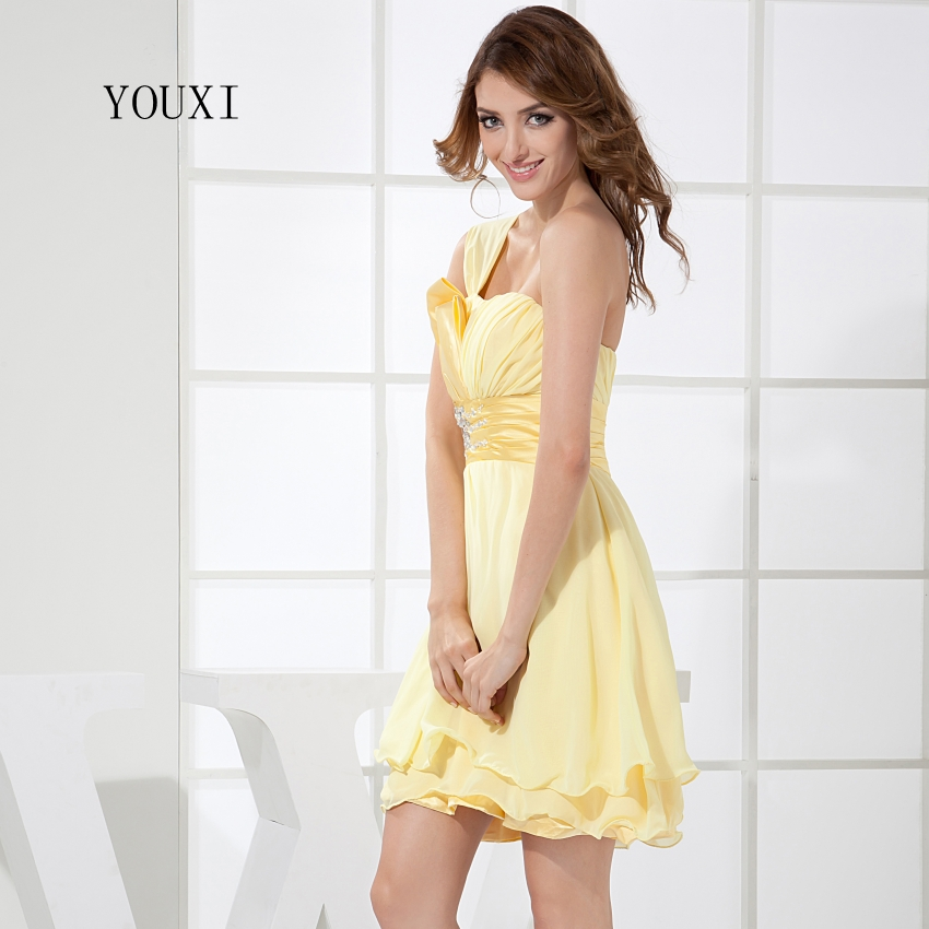 Sexy Strapless Yellow Prom Dresses 2017 Hot Chiffon Short Cocktail Party Dress For Women PD106