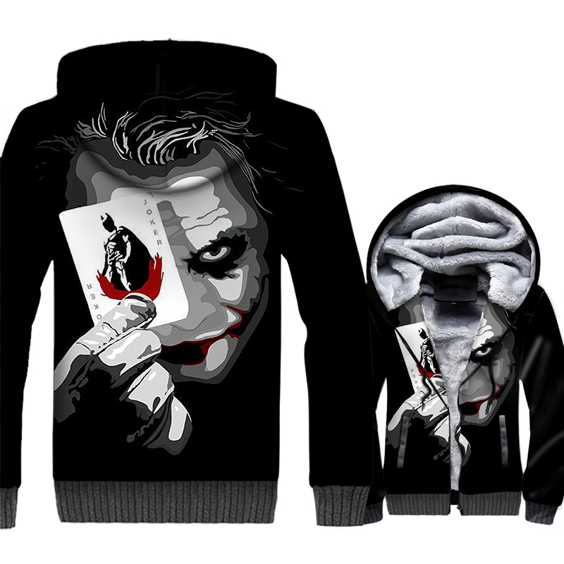 New Fashion 2019 Autumn Winter Thick Jacket Clown Print Cosplay Zipper Coat Harajuku Unisex Sweatshirts Streewear Anime Hoodies in Hoodies amp Sweatshirts from Men 39 s Clothing
