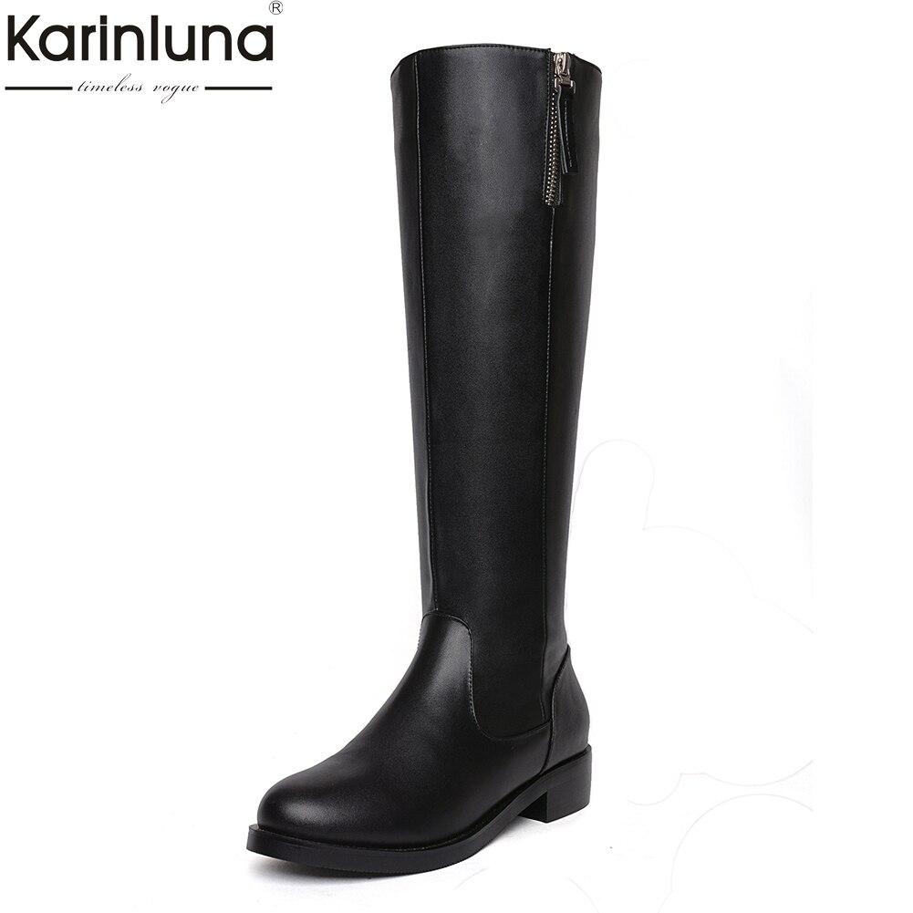 купить KarinLuna 2018 Cow Leather Large Size 33-43 Shoes Women Platform Winter Fashion Riding Boots Woman Shoes Knee High Boots по цене 3476.71 рублей