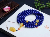 9mm Genuine Natural Lapis Gemstone 3 laps Bracelet Yellow Amber Pendant For Women Female Gift Crystal Stretch Bracelets AAAAA