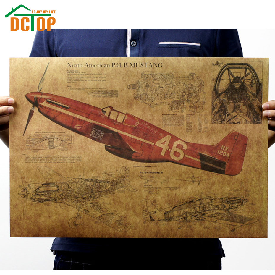 Poster design jobs online - Dctop Vintage Fighter Air Plane Poster Living Room Kraft Paper Wall Stickers Home Decor Decorative Creative