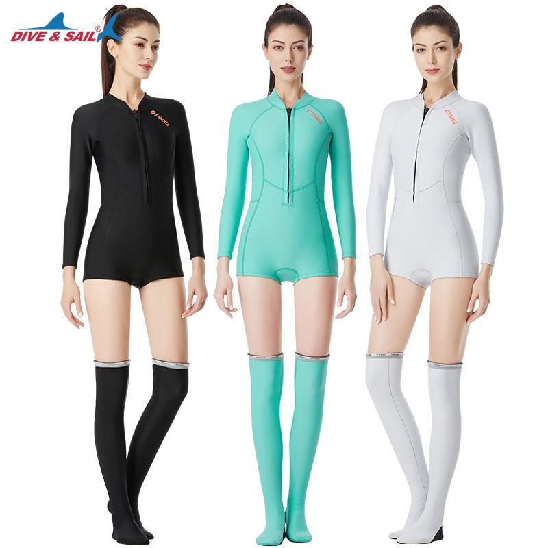 New 1 5MM SCR Neoprene Diving Suits Womens One piece Wetsuit Long Socks Set Scuba Surfing
