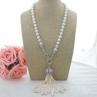 N102403 25 White Pearl Necklace Big CZ Pendant