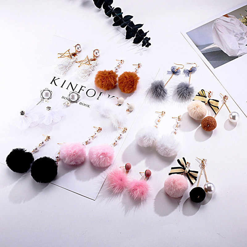 YOBEST Most Popular Pompom Balls Cute Enamel Long Tassel Drop Earrings Women Rhinestones Brincos Accessories