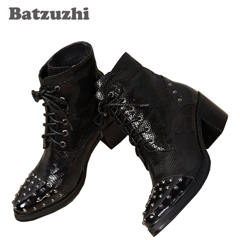 Batzuzhi 6.8CM Heels Black Men Boots Genuine Leather Fashion Mens Oxfords Boots Round Toe Rivets Square High Heels Men BootsBatzuzhi 6.8CM Heels Black Men Boots Genuine Leather Fashion Mens Oxfords Boots Round Toe Rivets Square High Heels Men Boots