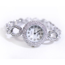 High-Grade Imported Quartz Ladies List Silver Rhinestone Chain Watch High Quality Custom Linked