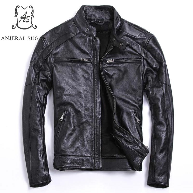 Plus Size genuine Top cow leather jacket men bomber jacket black Vintage stand Collar zipper M - 4XL short Motorcycle clothing