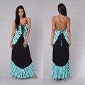 Женщины летнее платье 2016 длинные платья макси цветочный принт хлопок сексуальная одежда спинки boho хиппи chic vestidos бренд одежды