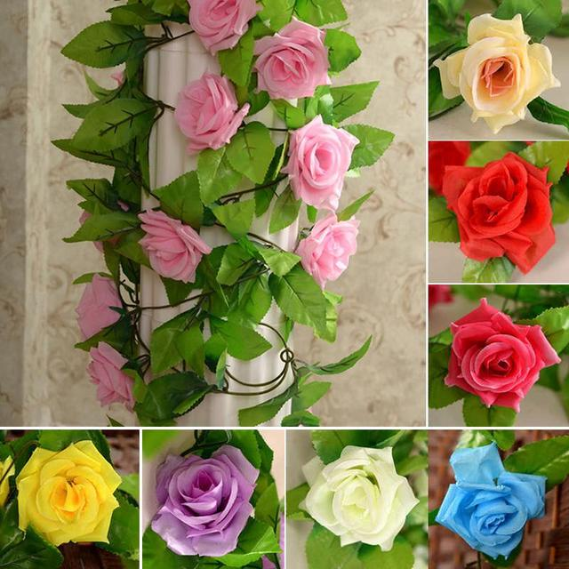 Wholesale 245cm fake silk roses ivy vine artificial flowers with wholesale 245cm fake silk roses ivy vine artificial flowers with green leaves wedding decoration home wall junglespirit Gallery