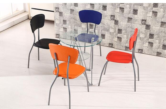 Small round table. Steel glass. Dining table and chair combination. glass dinner table milk tea shop reception desk and chair small family dining table