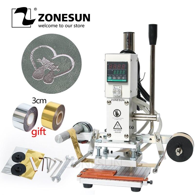 ZONESUN ZS90Aデジタル自動レザーホットフォイルスタンピングマシン手動エンボスツール折り目ウッドペーパーPVCカードプリンタDIY工作機械