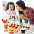75 pcs diy corte do bolo de aniversário das crianças das crianças do bebê precoce educacional toy clássico pretend play kitchen food plastic toy presente