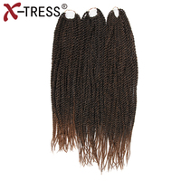 X TRESS 3PCS Pack 18 20 22 Inches Synthetic Ombre Hair Extensions Crochet Braid Hair Extension