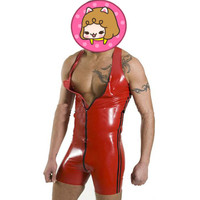 Abbille Hot Catsuit Faux Leather Men Jumpsuits Red PVC Bodysuits Sexy Bodycon Open Crotch Zipper Erotic Leather Bondage Boxers