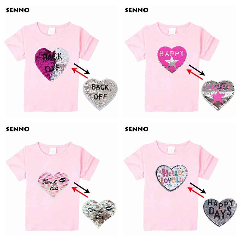 e28ff19b6 24 Patterns Animal Owl Cat Cartoon Super Hero Sequin Kids T shirt  Discoloration Reversible Sequined Tops Tee Shirts Boys Girls
