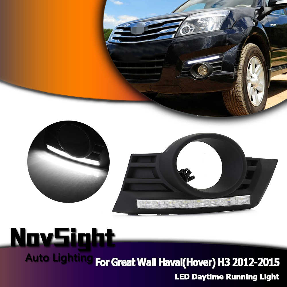 NOVSIGHT White Auto Car Daylight for Great Wall Haval(Hover) H3 12-15 LED Driving Daytime Running Lights DRL Bumper Lamps D30
