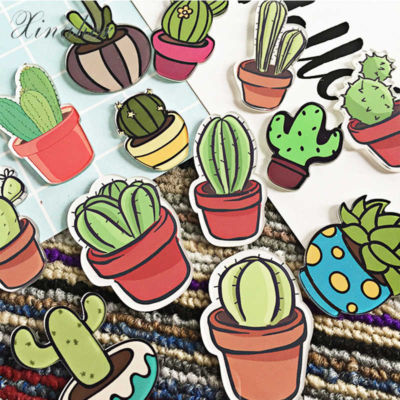 XINAHER 1 PC Cartoon Cactus Bonsai Brooch Acrylic Badges Icons on The Backpack Pin Badge Decoration Badges for Clothing