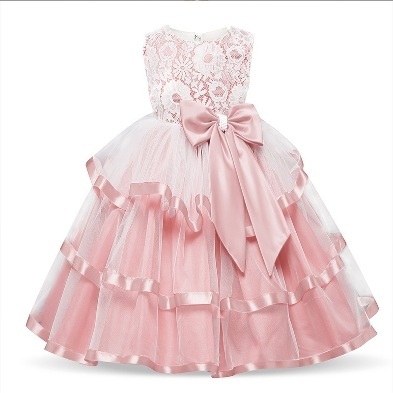 Baby   Girls   Elegant Wedding   Flower     Girl     Dress   Princess Children Costume For Kids Formal Lace Bow Tulle Christmas Party Ball Gown