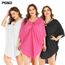 PGSD Spring summer Simple Fashion big size Solid Women Clothes Irregular bat sleeve hollow deep V-neck beach Blouse Dress female