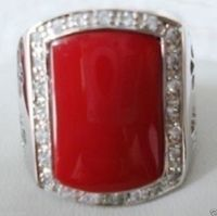 FREE SHIPPINGExquisite Red Coral Silver Men S Ring Size 9 10 11 12