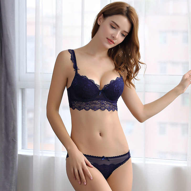 aaea3035bb ... OranriTing Sexy Lingerie Set Gathering Lace Underwear Women Adjustable  Push Up Bra Set ABCD Cup Intimates ...