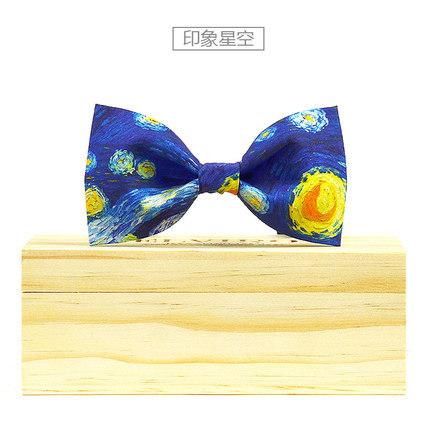 Luxo frete grátis mens céu azul pintura a óleo estilo estilo europeu bow tie/estágio estágio desempenho gravata borboleta/smoking gravata borboleta