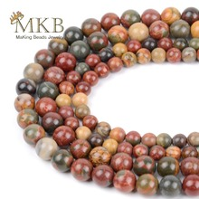 Natural Stone Picasso Jaspers Round Beads For Jewelry Making 4 6 8 10 12mm Spacer Diy Bracelet Necklace Accessories Perles