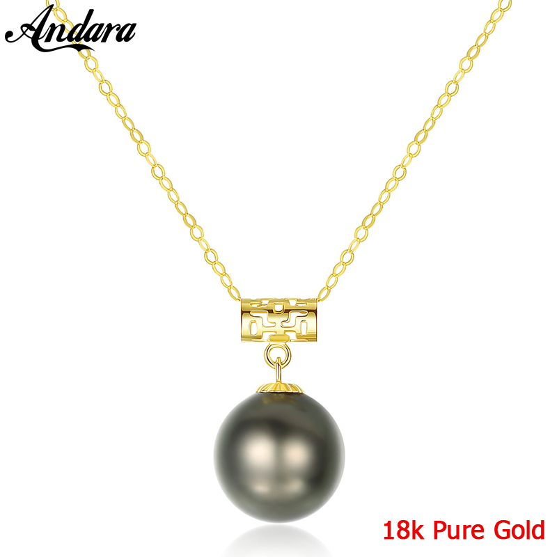Genuine G18K Yellow Gold Pendant 8-9mm Black Natural Tahitian Pearl Necklace Jewelry Accessories image