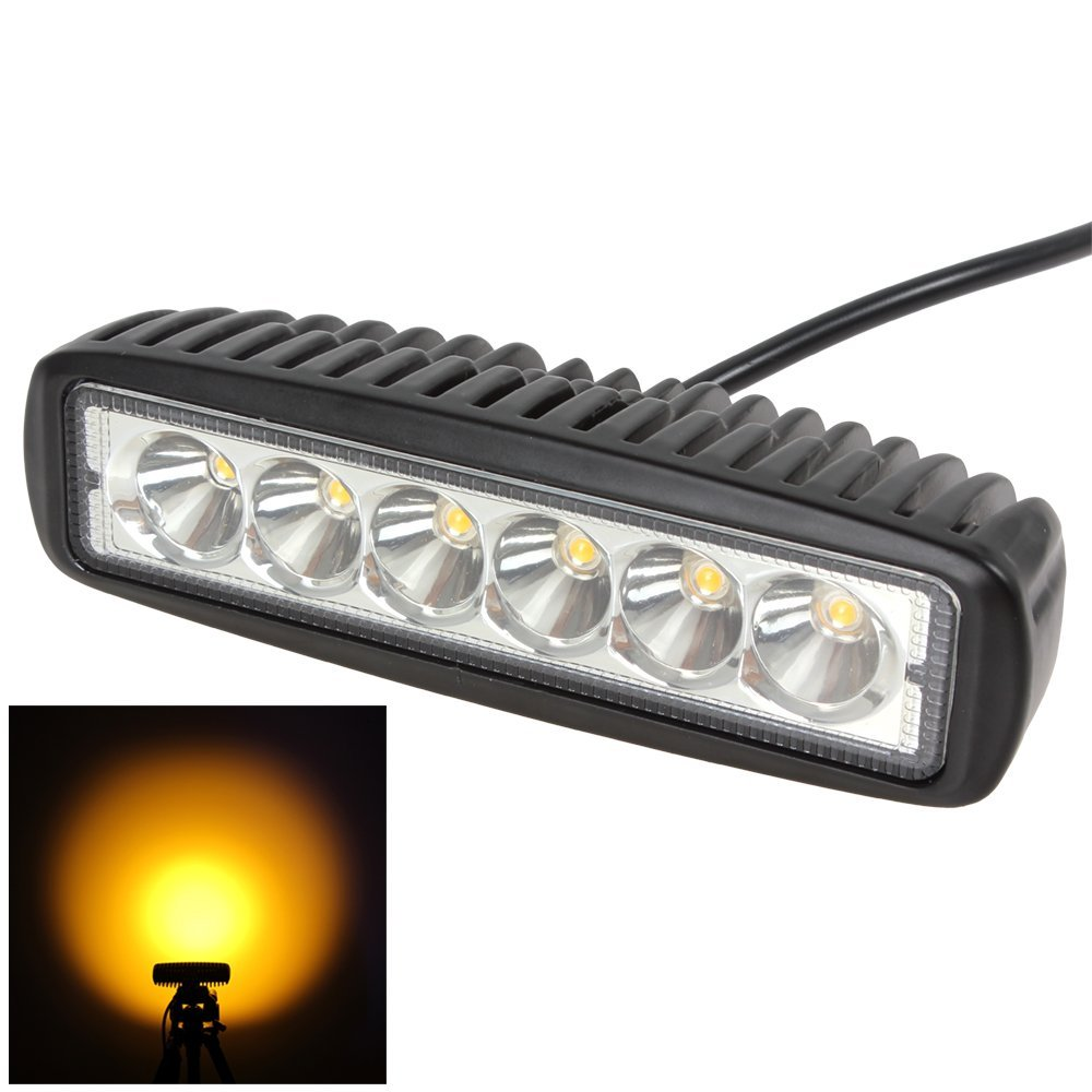 Honzdda 1PC 6 DRL 18W Amber Spot Led Work Light Bar 10-30V 2150LM Led Work Light Lamp for Offroad 4x4 Turck ATV Led Fog Light