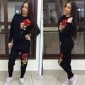 Женщины Спортивный Костюм 3D Розы Блесток Костюмы Устанавливает Толстовка Толстовка женская Повседневная Топ + Брюки Костюм 265