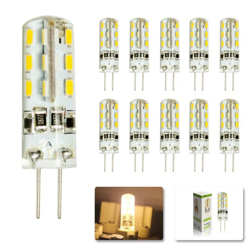 10 шт./лот G4 DC12V 3 Вт Светодиодная лампа 24 светодиода SMD 3014 Светодиодная кукурузная лампа для хрустальной лампы светодиодные прожекторы лампы ...