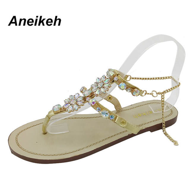 2fc67a1cbd901d Online Shop Aneikeh 2018 Woman Sandals Women Shoes Rhinestones Chains  Diamond Beaded Pinch Flat Bohemia Sandals Female Large Size 41 42 NEW