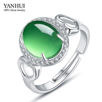 YANHUI Brand 100% 925 Sterling Silver Wedding Rings For Women Luxury created Emerald Adjustable Ring Fine Jewelry YR391