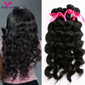 7A Peruvian Virgin Hair Loose Wave 5 Bundles Remy Queen Wavy Hair Unprocessed Peruvian Loose Curly  Nice Hair Soft Thick , Full