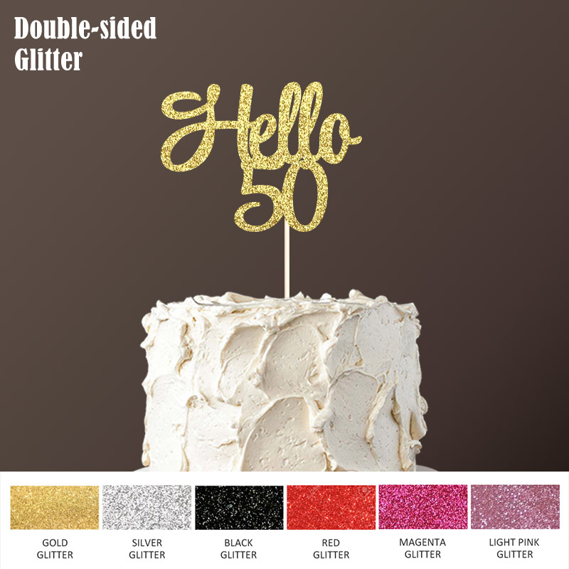 Hello 50 Cake Topper,50th Birthday Party Decorations for Fifty Happy Birthday Double-sided Glitter Topper Accessory Supplies 50th birthday party decorations